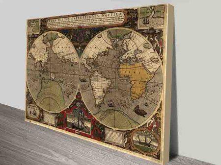 Ancient World Map Canvas Wall Art Prints
