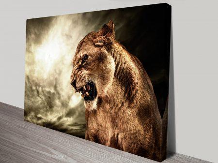 Angry Tiger Animal Wall Art on Canvas