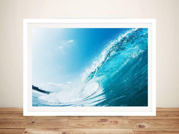 Aqua Barrels Framed Surfing Wall Art