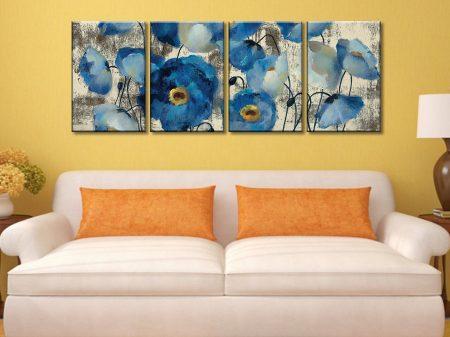 Aquamarine Floral Four Panel Canvas Art