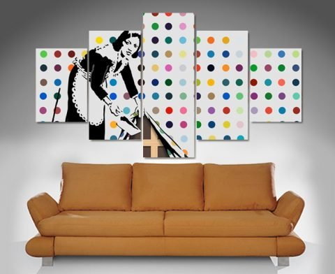 banksy keeping it spotless 5 panel wall art print