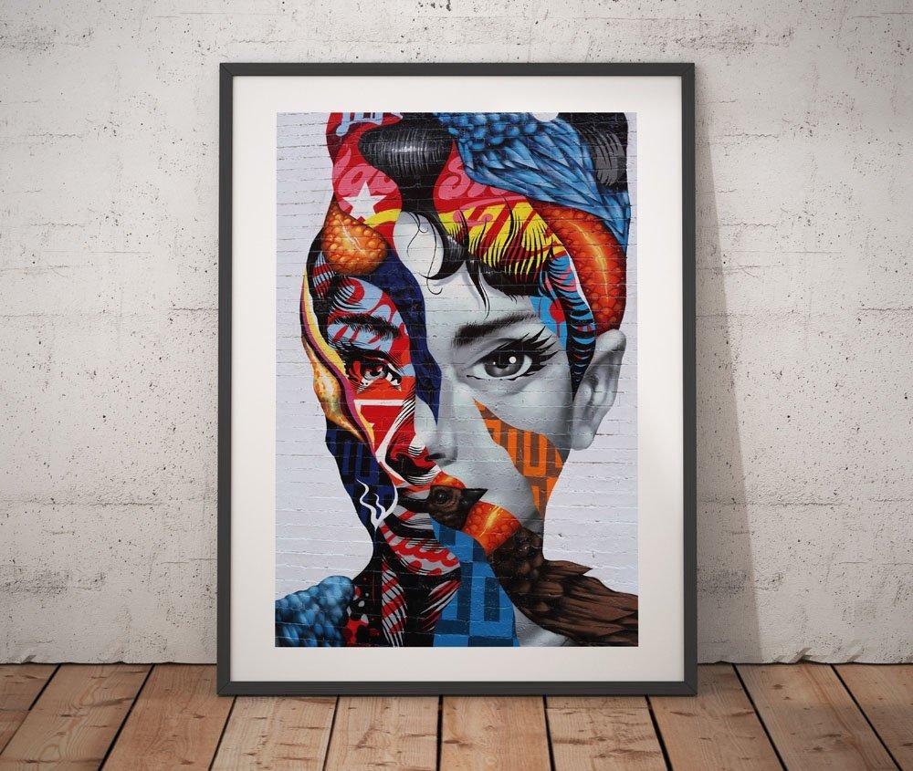 """Banksy Aqua Graffiti Audrey Hepburn 24/""""x36/"""" Canvas Print"""