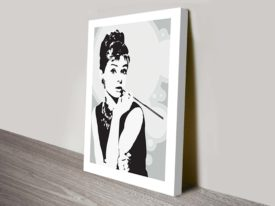 Audrey-Hepburn-Grey-Canvas -Print