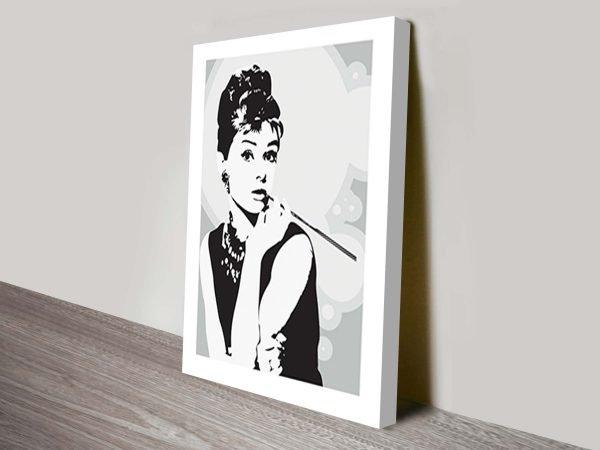 Audrey Hepburn Grey Canvas Print