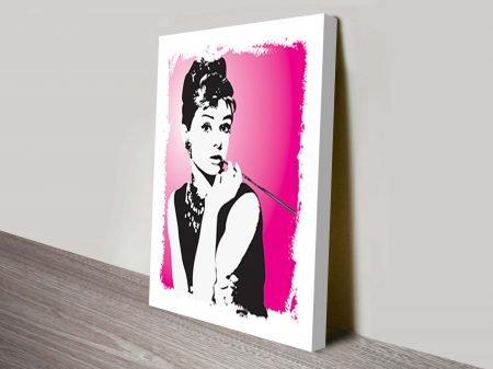 Audrey Hepburn Pink Pop Art Canvas Print