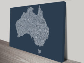Australia Type Map wall art.