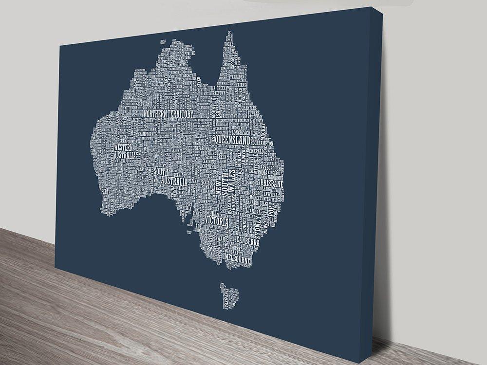 Australia type map wall art on canvas australia type map wall art gumiabroncs Gallery