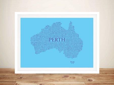 Typographic Word Map Art Gift Idea Online Australia