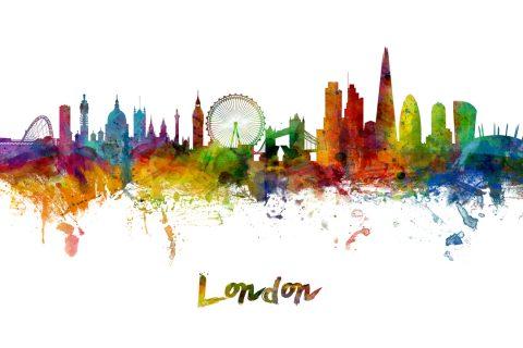 London Skyline Skyline Watercolour Canvas Art Print