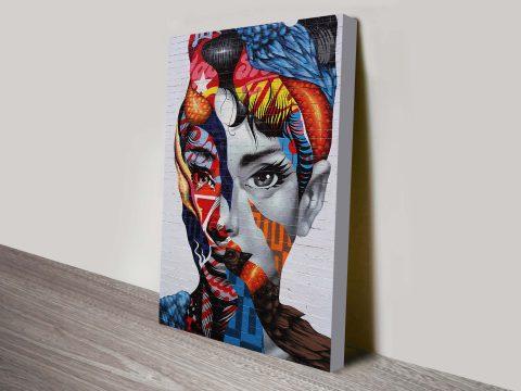 Audrey Hepburn Graffiti Canvas Art Print