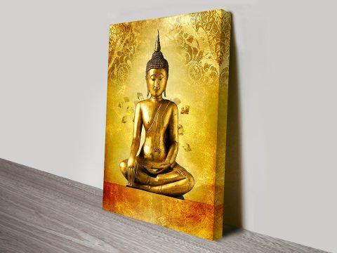 Buddha with vintage wall art