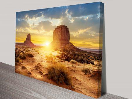 Desert Sunset Landscape Canvas Artwork