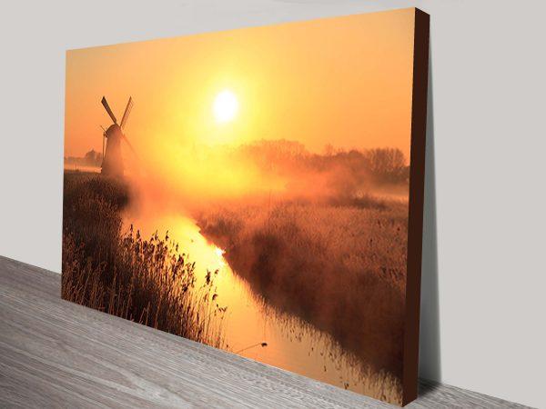 Windmill Sunset Norfolk England Canvas Print