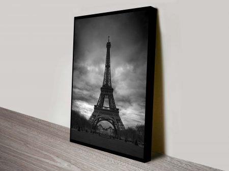 Eiffel Tower Black and White Canvas Print