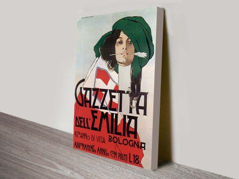 Gazetta Dell Emilia vintage poster on canvas