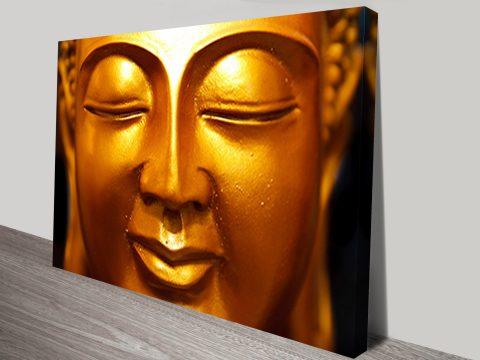 Golden Buddha Face Canvas Print
