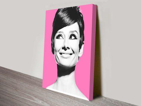 Audrey Hepburn Pop Art Canvas pink