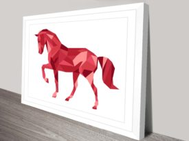 Red Geometric Horse Canvas Wall Art
