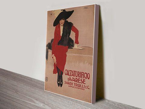 sardi trolli print vintage travel poster
