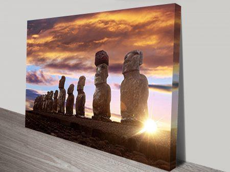 Sunset Moai Easter Island Art