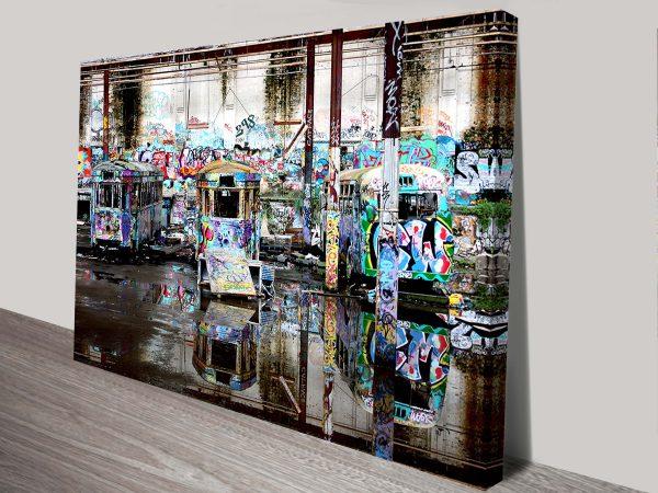Three Sentinels Tram City Street Art Wall Print