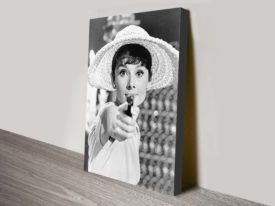 audrey hepburn gun canvas art