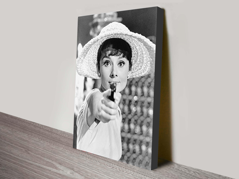 Audrey Hepburn Gun Canvas Art Picture Print