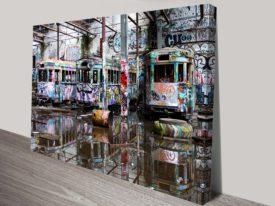 Tram city graffiti wall art