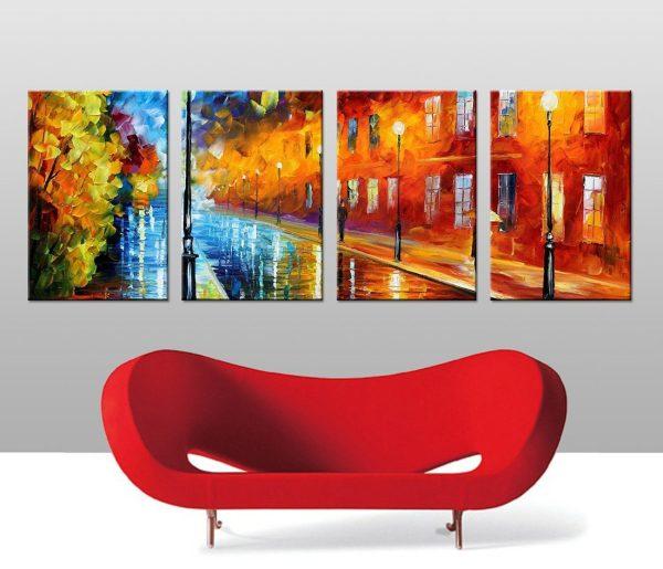 Blue Lights 4 Panel Split Canvas Leonid Afremov