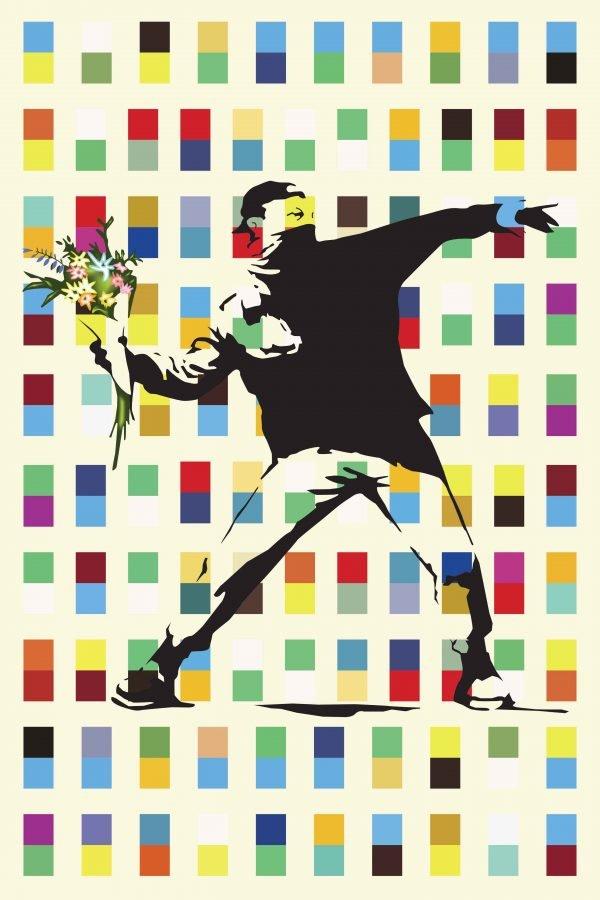 Banksy Canvas Print Flower Thrower