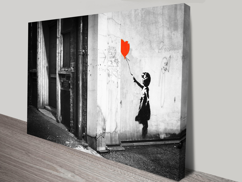 Banksy balloon girl black white print on canvas for Art photos for sale