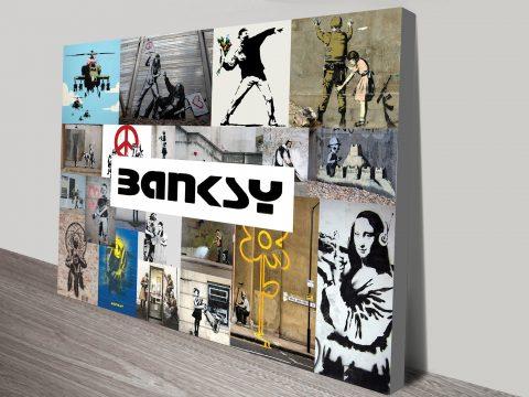 Banksy Collage Photo Canvas Art Print