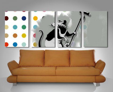 Banksy Damien Hirst Split Canvas
