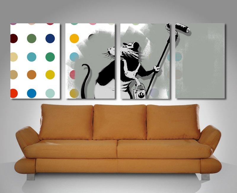 Banksy Hirst 4 Split Canvas