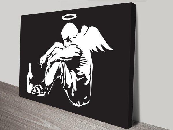 Banksy Fallen angel White on Black