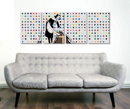 Banksy Keeping It Spotless 4-Panel Art