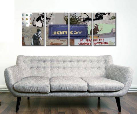 Banksy Rat Collage 4 Panel