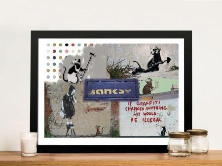 Banksy Rat Collage Framed Picture Art