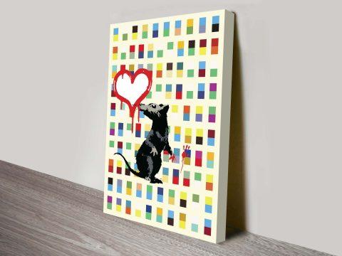Banksy Rat retro canvas print