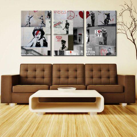 Banksy Red Collage 3 PanelBanksy Red Collage 3 Panel