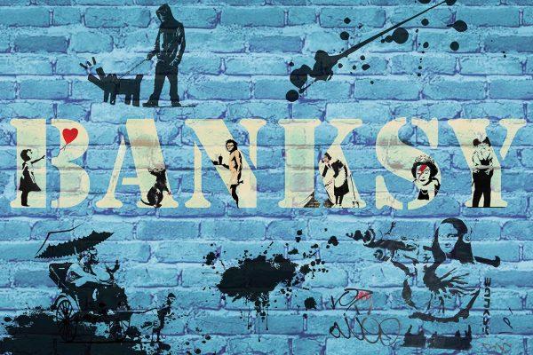Banksy blue collage art print