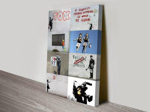 Banksy collage canvas art