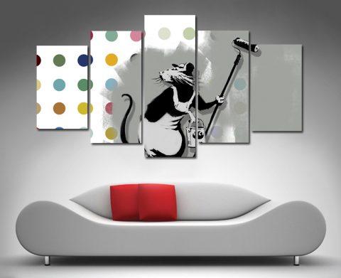 Banksy Hirst roller rat canvas set