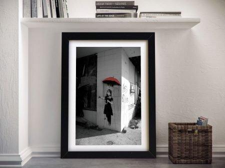 Banksy Raingirl Red Framed Wall Art
