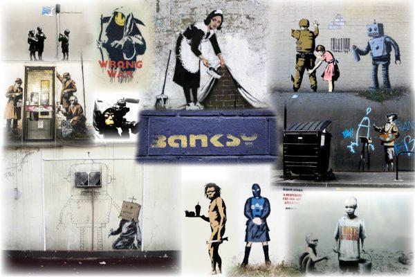 Bansky Slight Colour Collage Canvas Print
