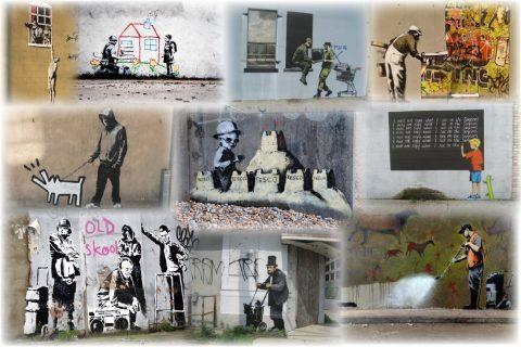 Bansky Slight Colour Collage Art
