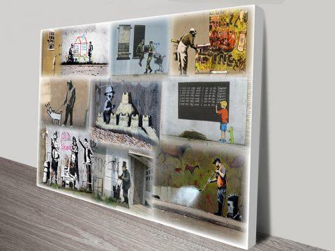 Bansky Slight Colour Collage Art Sydney
