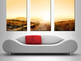 beach pathway triptych custom canvas wall art