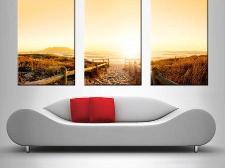 Buy Beach Pathway Triptych Canvas Wall Art