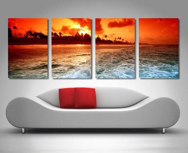 Sunset Churn Stunning 4-Panel Wall Art Set